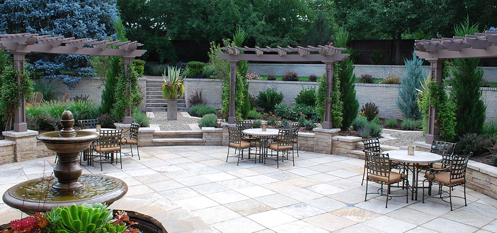 Landscaped Outdoor space with tables and chairs