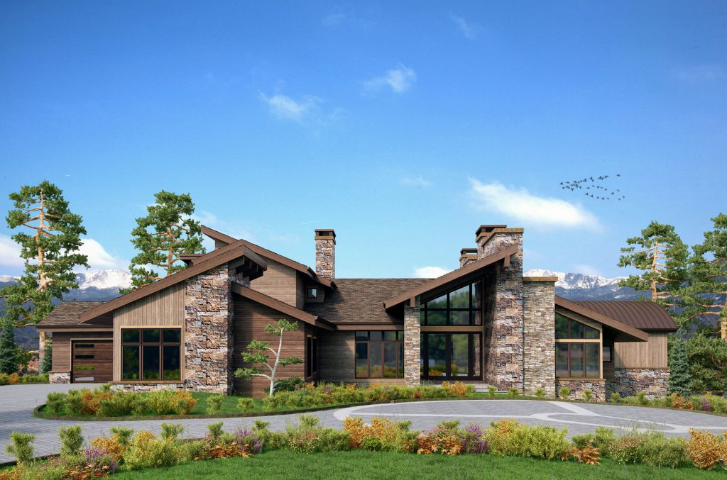 Rendering of modern rustic custom home