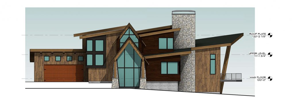 Mountain Modern Home - Front Elevation
