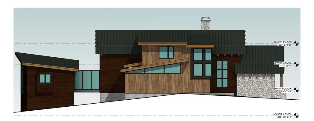 Mountain Modern Home - Left Side Elevation