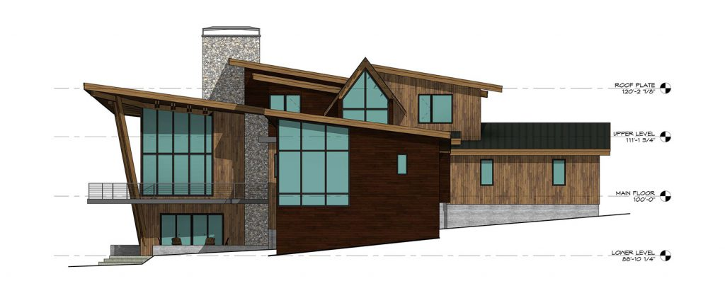 Mountain Modern Home - Rear Elevation