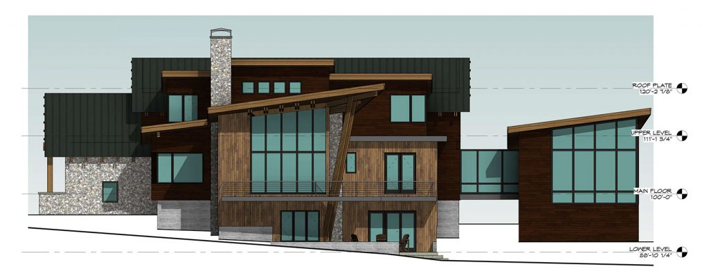 Mountain Modern Home - Right Side Elevation