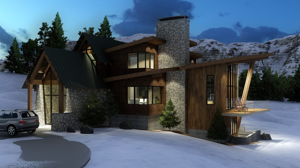 Mountain Modern Home Front Exterior Rendering