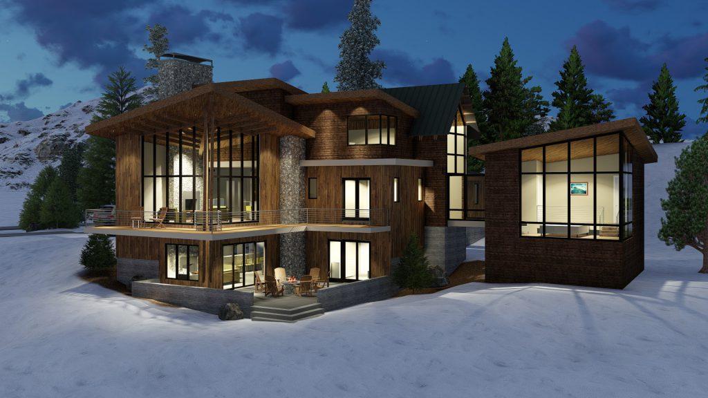 Mountain Modern Home Rear Exterior Rendering