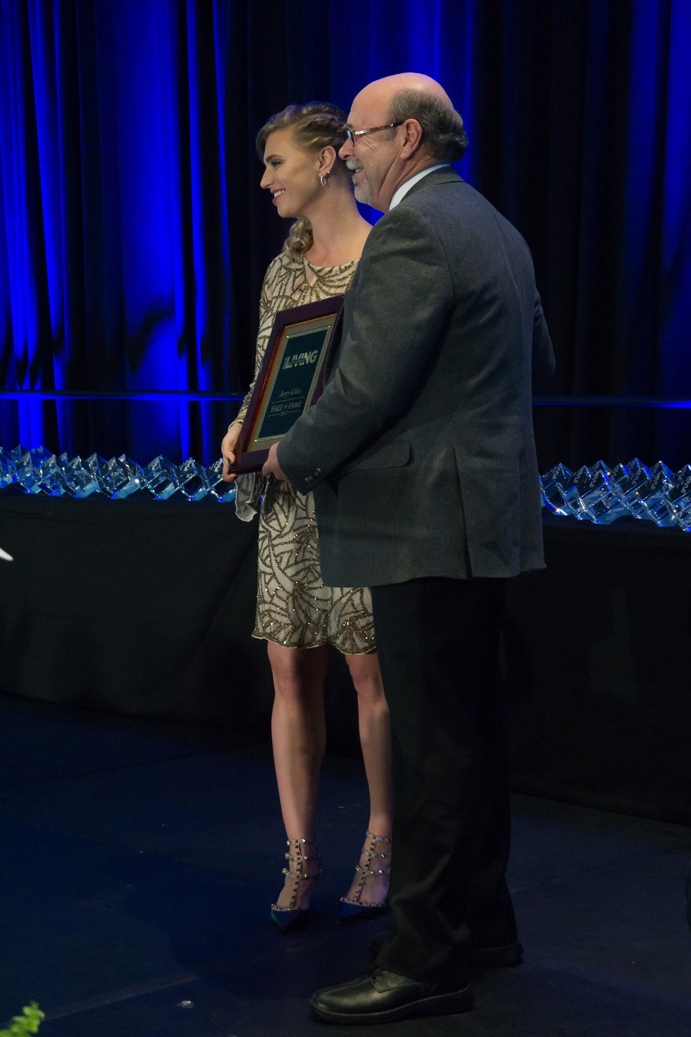 Jerry Gloss accepts BALA Hall of Fame Award
