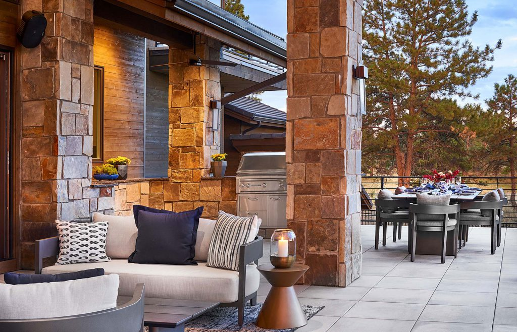 Outdoor living space in custom home in the Colorado Golf Club designed by KGA