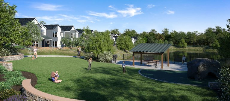 Park at Berkley Shores with Single Family homes in the background