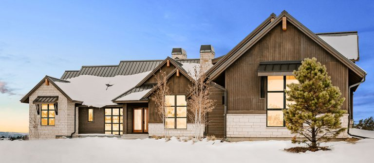 Front Elevation of Modern Rustic Custom Home by KGA Studio Architects