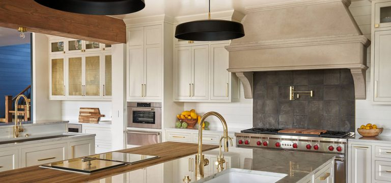 Kitchen with off-white cabinets in remodeled by KGA Studio Architects
