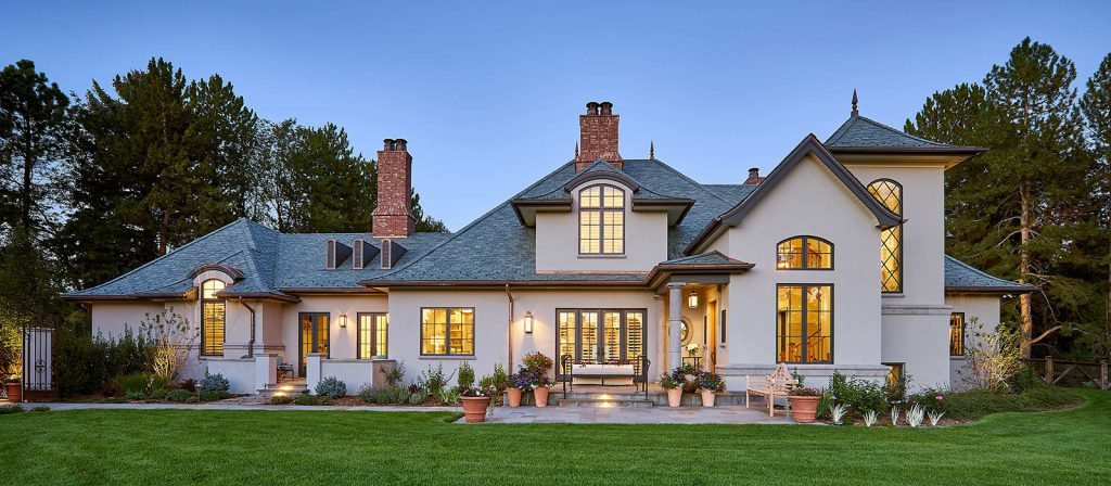 Front elevation of a traditional english cottage style custom home by KGA Studio Architects