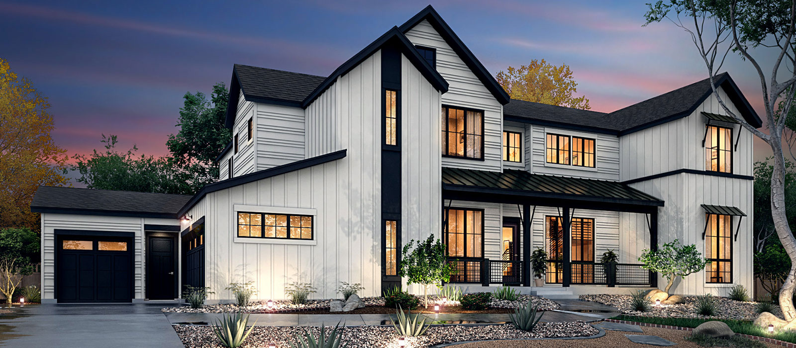White farmhouse with black room and black trim by KGA Studio Architects