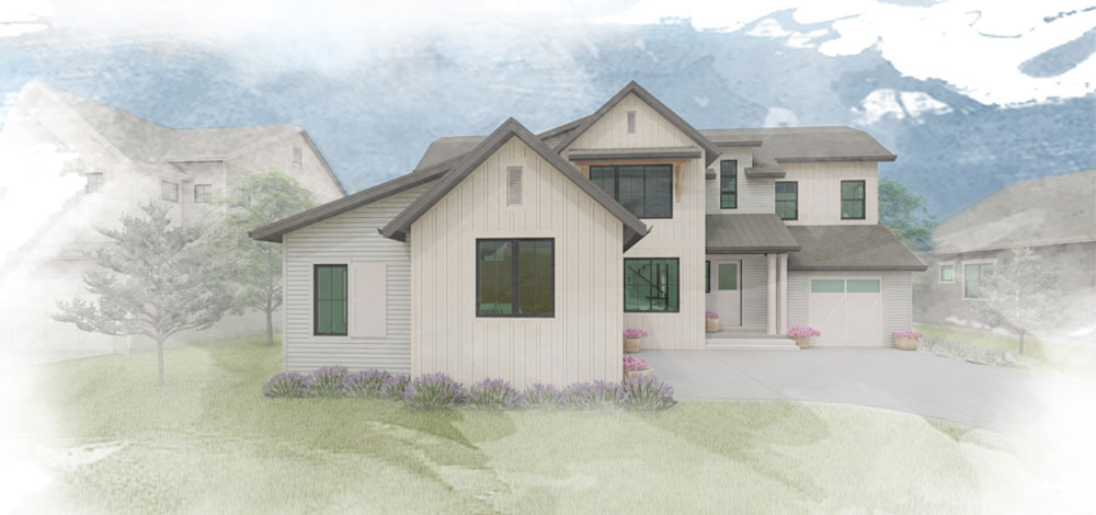Sketchy rendering of 2 story farmhouse style home