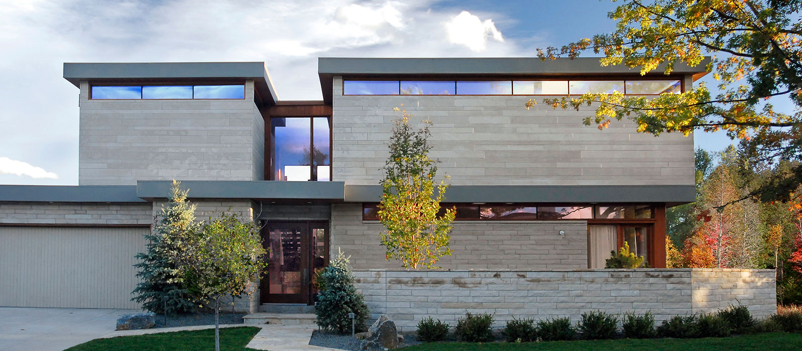 Front elevation of contemporary home in Boulder designed by KGA Studio Architects