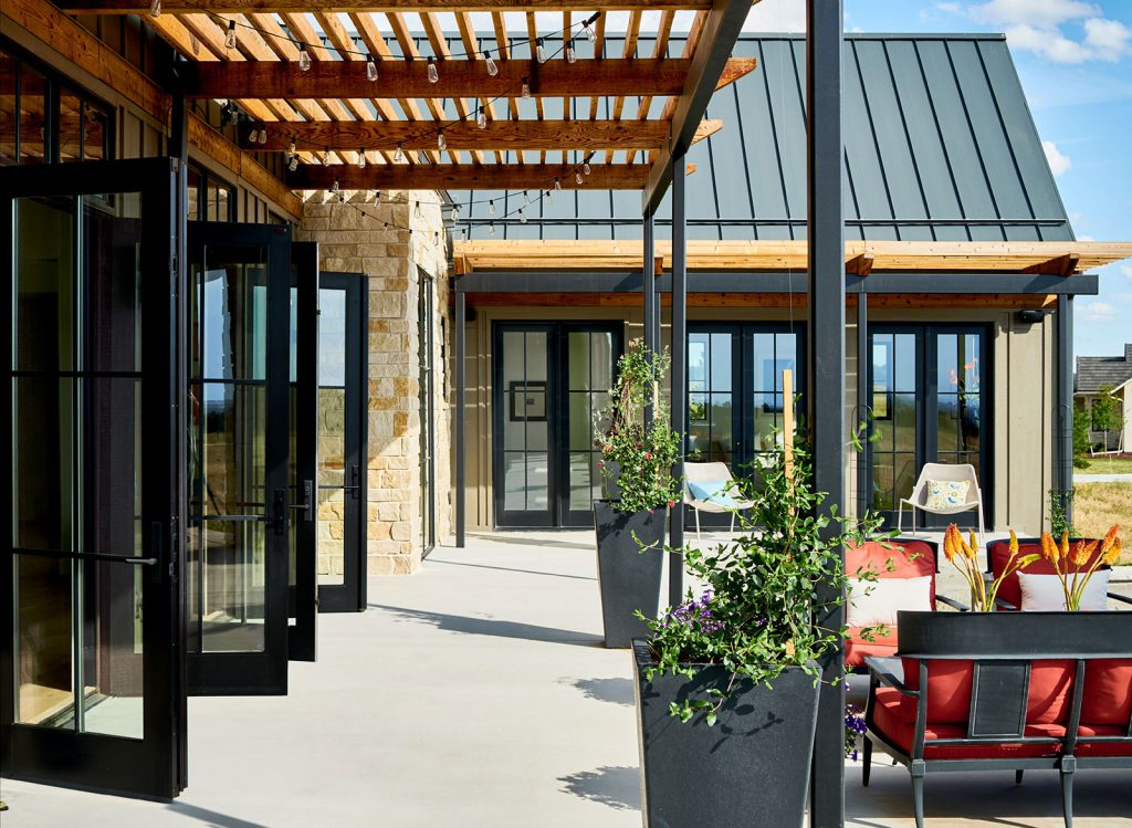 This luxury outdoor living space can be accessed via multiple sets of French doors